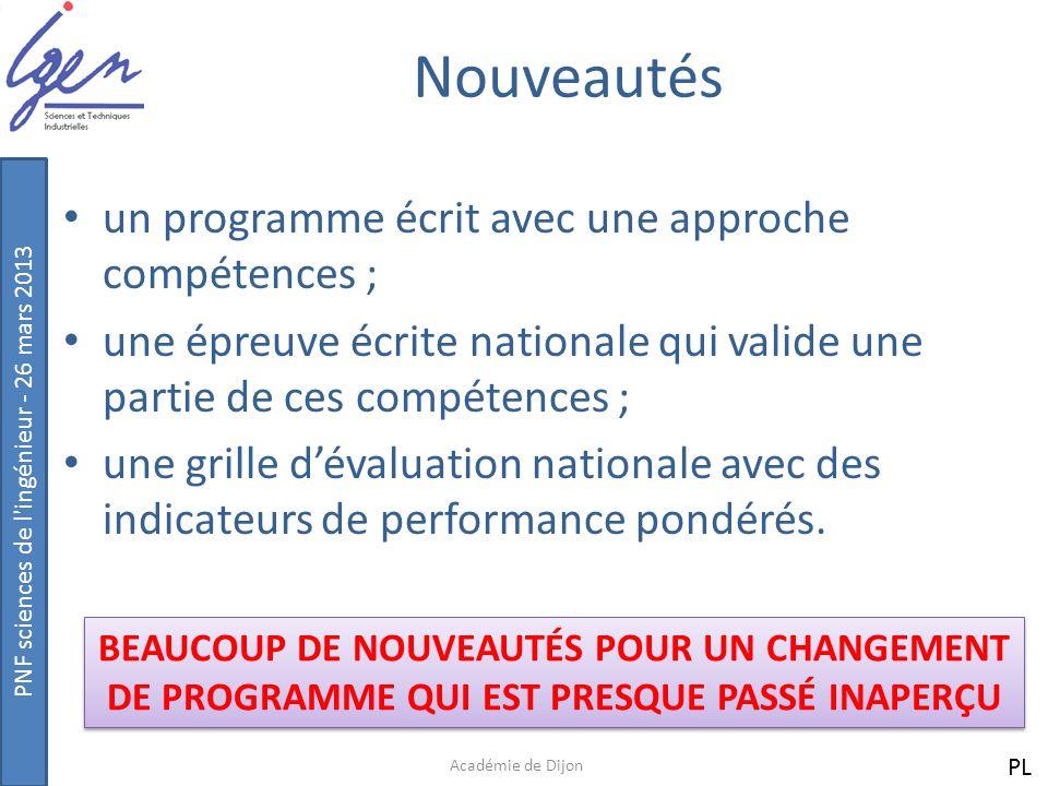 PNF sciences de l ingénieur - 26 mars 2013 Le programme national Académie de Dijon Une écriture COMPETENCES/CONNAISSANCES/CAPACITÉS PL