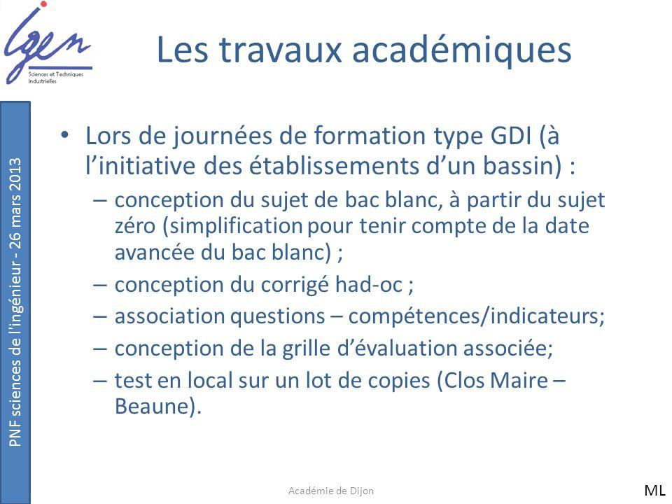PNF sciences de l'ingénieur - 26 mars 2013 Les travaux académiques Lors de journées de formation type GDI (à linitiative des établissements dun bassin