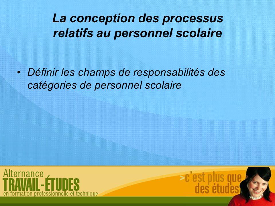 La conception des processus relatifs au personnel scolaire Définir les champs de responsabilités des catégories de personnel scolaire