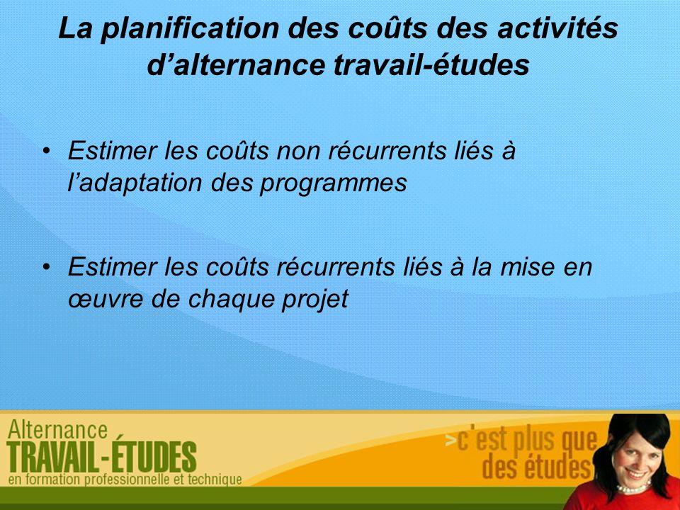 La planification des coûts des activités dalternance travail-études Estimer les coûts non récurrents liés à ladaptation des programmes Estimer les coû