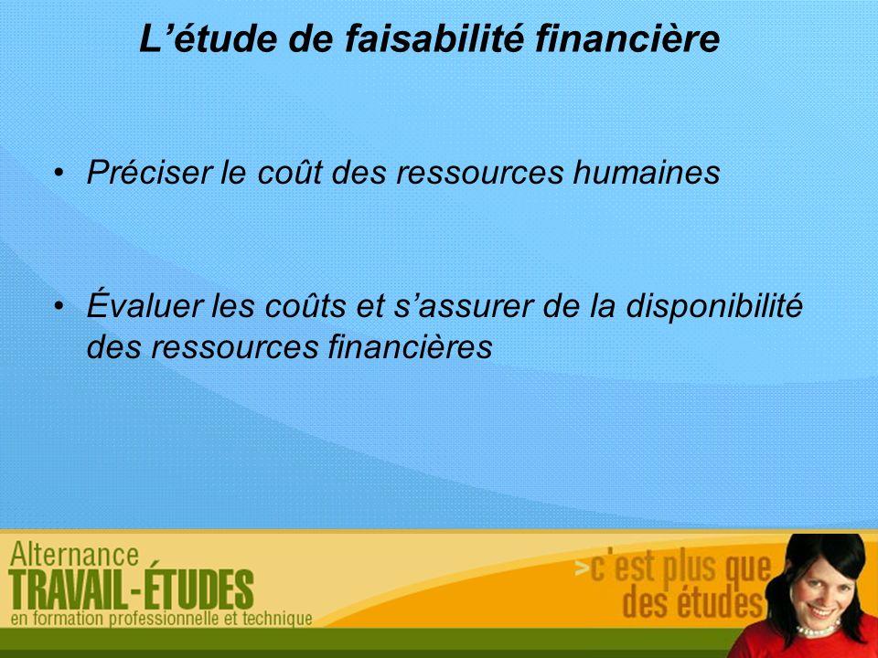 Létude de faisabilité financière Préciser le coût des ressources humaines Évaluer les coûts et sassurer de la disponibilité des ressources financières
