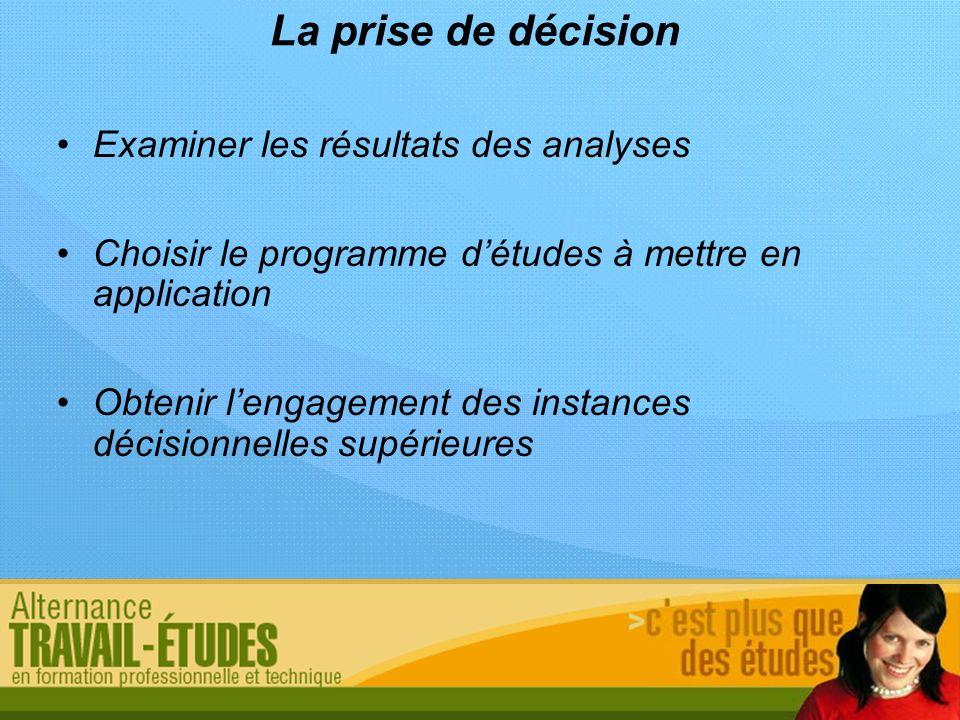 La prise de décision Examiner les résultats des analyses Choisir le programme détudes à mettre en application Obtenir lengagement des instances décisi