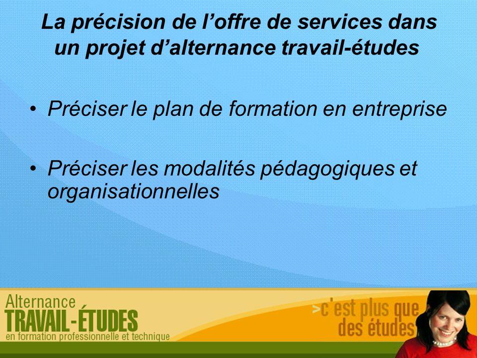 La précision de loffre de services dans un projet dalternance travail-études Préciser le plan de formation en entreprise Préciser les modalités pédago