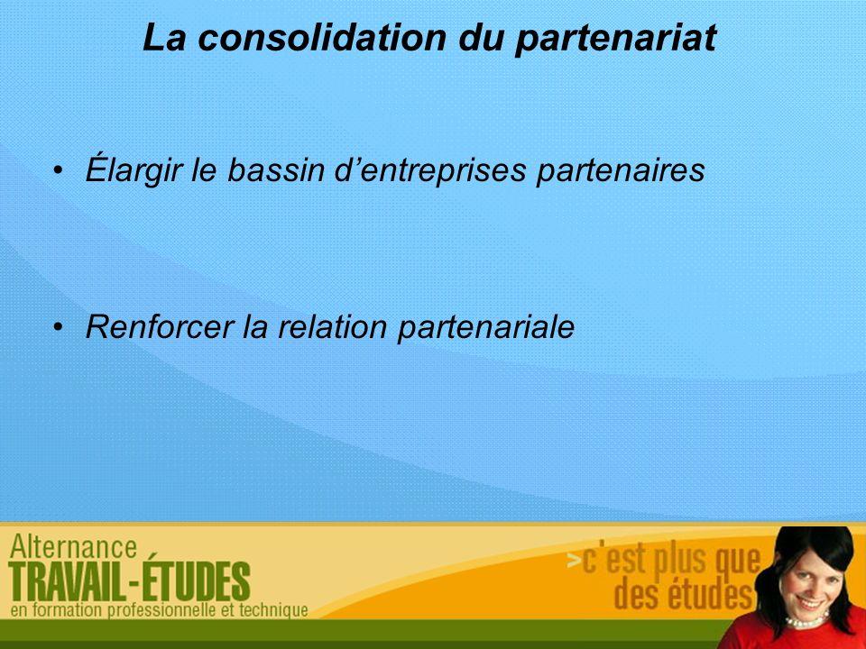 La consolidation du partenariat Élargir le bassin dentreprises partenaires Renforcer la relation partenariale