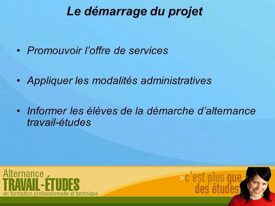 Le démarrage du projet Promouvoir loffre de services Appliquer les modalités administratives Informer les élèves de la démarche dalternance travail-ét
