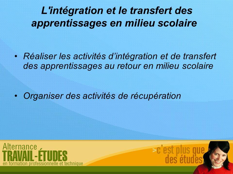 L'intégration et le transfert des apprentissages en milieu scolaire Réaliser les activités dintégration et de transfert des apprentissages au retour e