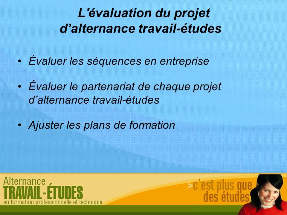 L'évaluation du projet dalternance travail-études Évaluer les séquences en entreprise Évaluer le partenariat de chaque projet dalternance travail-étud