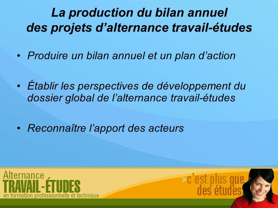 La production du bilan annuel des projets dalternance travail-études Produire un bilan annuel et un plan daction Établir les perspectives de développe