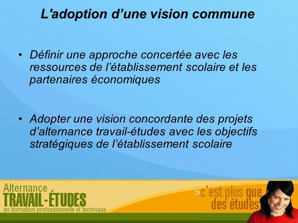 L'adoption dune vision commune Définir une approche concertée avec les ressources de létablissement scolaire et les partenaires économiques Adopter un