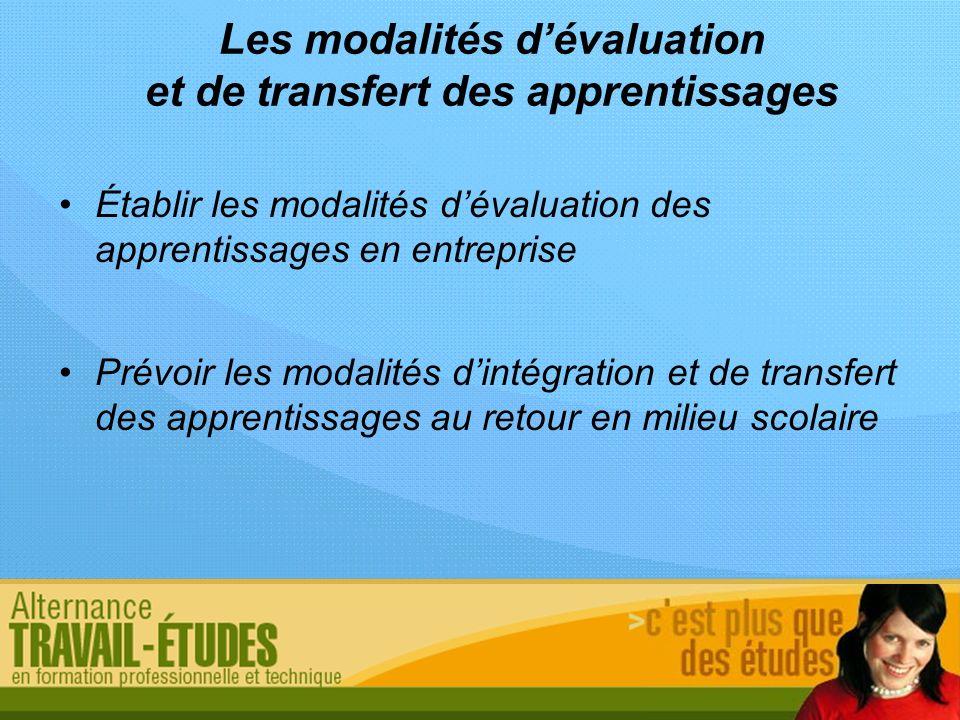Les modalités dévaluation et de transfert des apprentissages Établir les modalités dévaluation des apprentissages en entreprise Prévoir les modalités