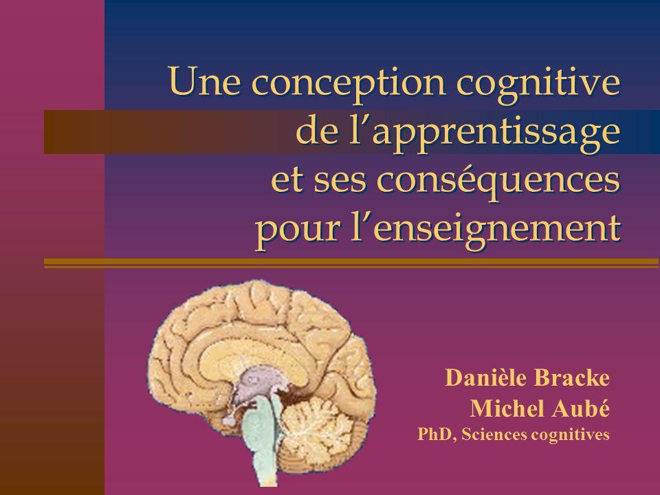 Une conception cognitive de lapprentissage et ses conséquences pour lenseignement Danièle Bracke Michel Aubé PhD, Sciences cognitives