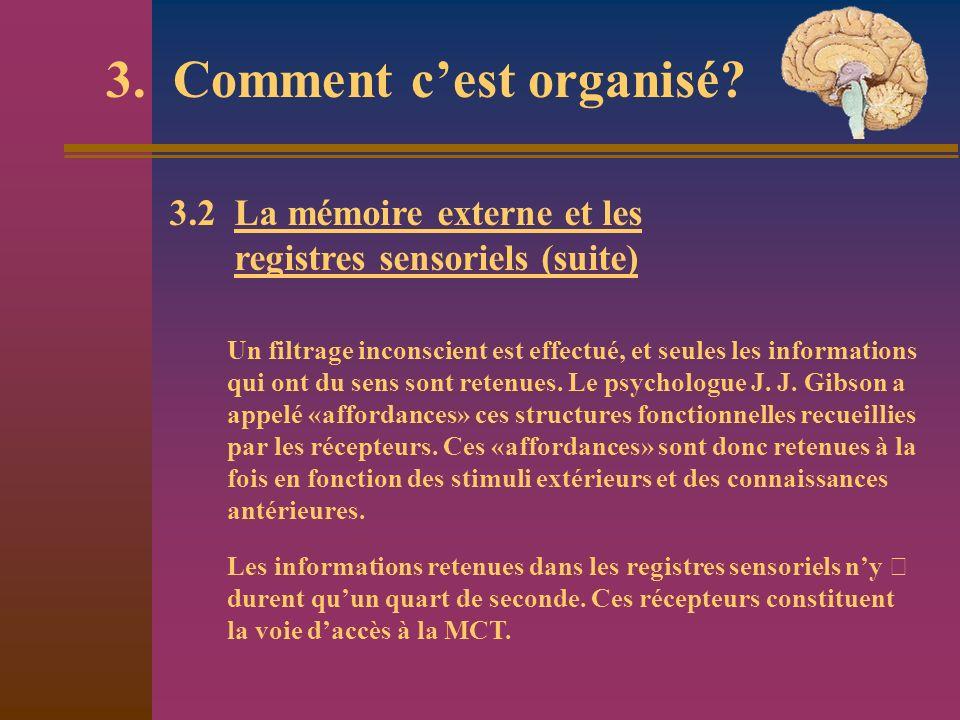 3. Comment cest organisé? Un filtrage inconscient est effectué, et seules les informations qui ont du sens sont retenues. Le psychologue J. J. Gibson