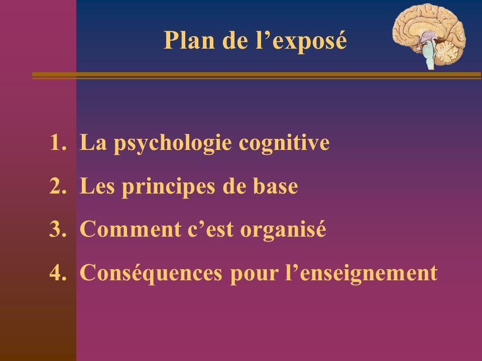 1. La psychologie cognitive 2. Les principes de base 3. Comment cest organisé 4. Conséquences pour lenseignement Plan de lexposé