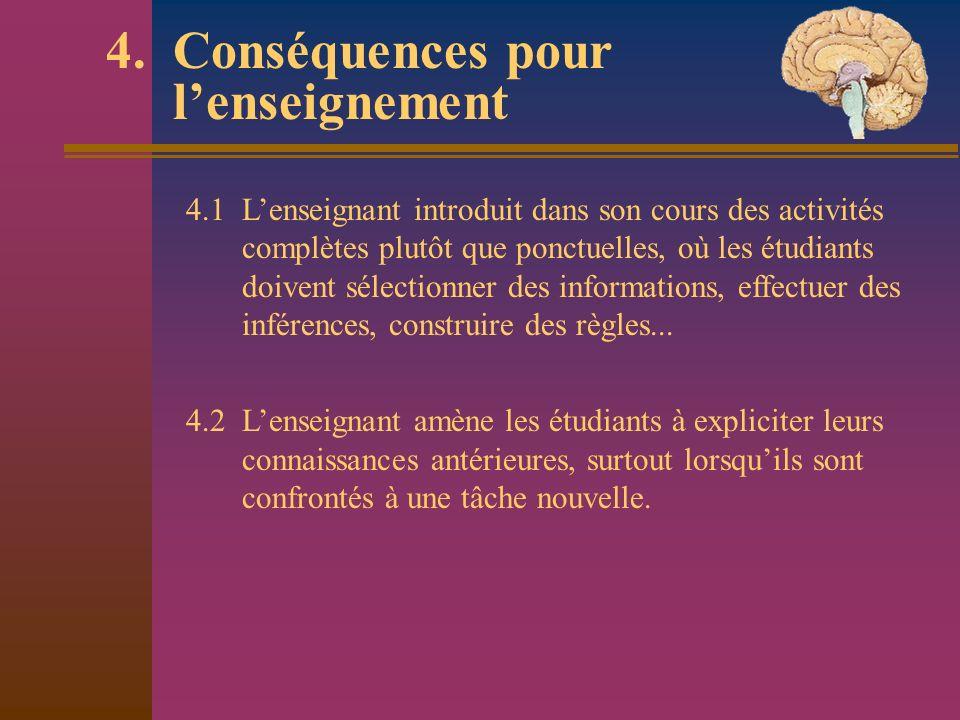 4. Conséquences pour lenseignement 4.1 Lenseignant introduit dans son cours des activités complètes plutôt que ponctuelles, où les étudiants doivent s