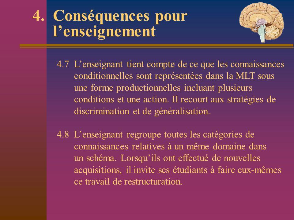 4. Conséquences pour lenseignement 4.7 Lenseignant tient compte de ce que les connaissances conditionnelles sont représentées dans la MLT sous une for