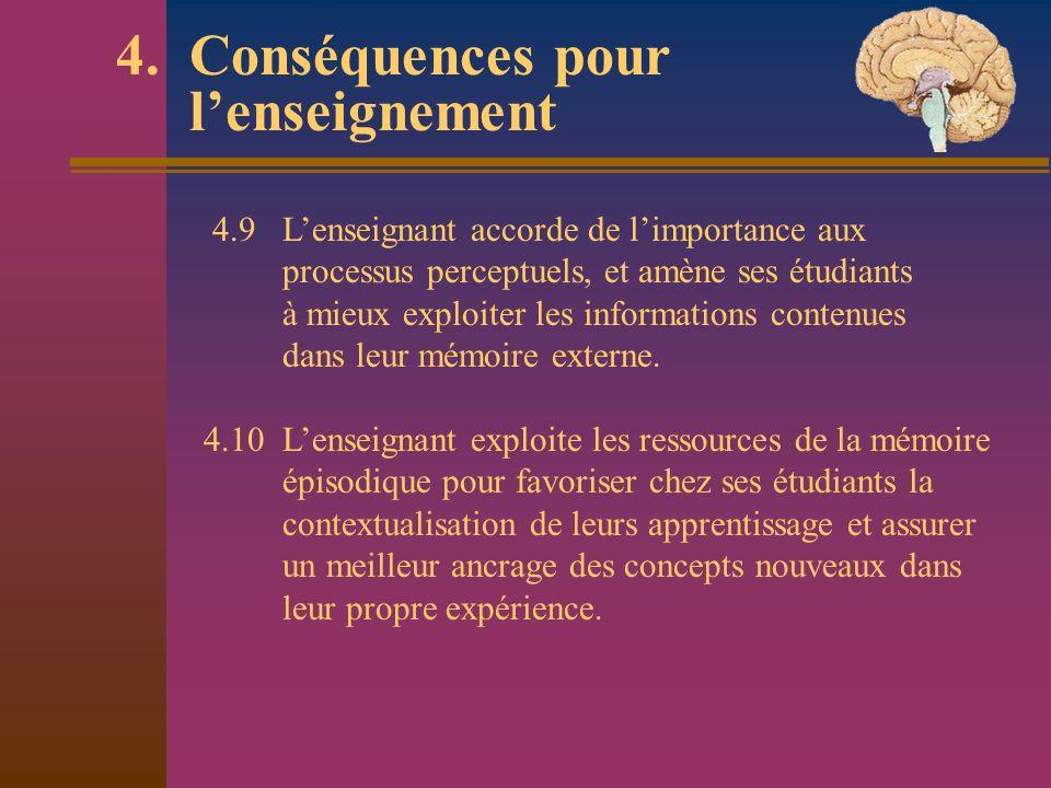 4. Conséquences pour lenseignement 4.9 Lenseignant accorde de limportance aux processus perceptuels, et amène ses étudiants à mieux exploiter les info