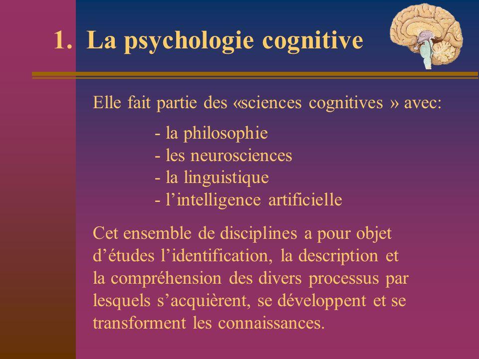 1. La psychologie cognitive Elle fait partie des «sciences cognitives » avec: - la philosophie - les neurosciences - la linguistique - lintelligence a