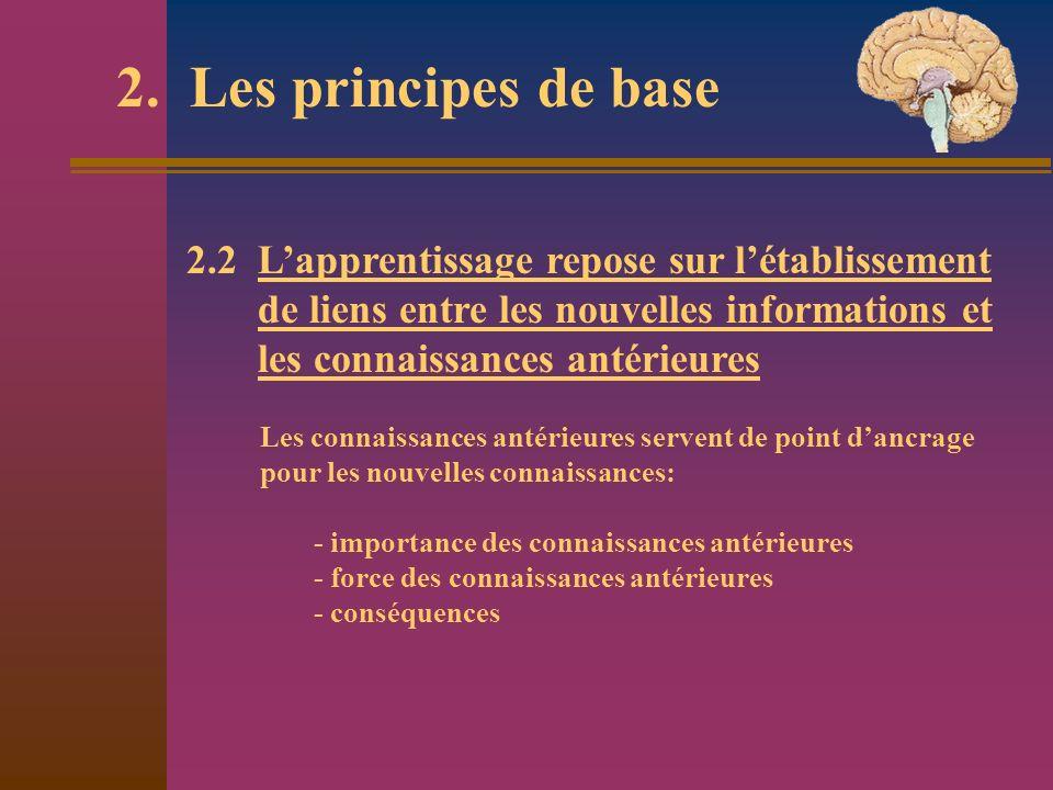 2. Les principes de base 2.2 Lapprentissage repose sur létablissement de liens entre les nouvelles informations et les connaissances antérieures Les c