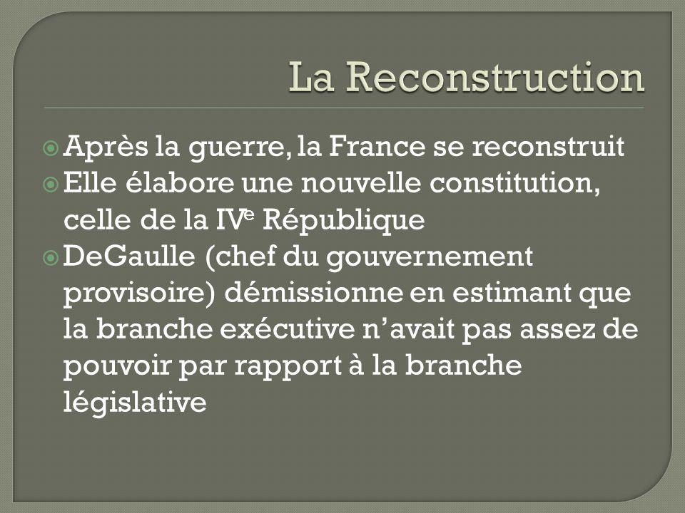 Après la guerre, la France se reconstruit Elle élabore une nouvelle constitution, celle de la IV e République DeGaulle (chef du gouvernement provisoire) démissionne en estimant que la branche exécutive navait pas assez de pouvoir par rapport à la branche législative