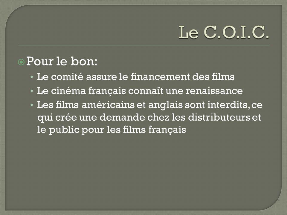 Pour le bon: Le comité assure le financement des films Le cinéma français connaît une renaissance Les films américains et anglais sont interdits, ce qui crée une demande chez les distributeurs et le public pour les films français