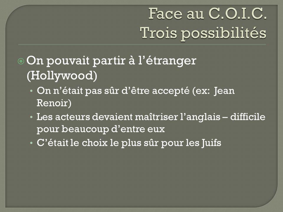 On pouvait partir à létranger (Hollywood) On nétait pas sûr dêtre accepté (ex: Jean Renoir) Les acteurs devaient maîtriser langlais – difficile pour b