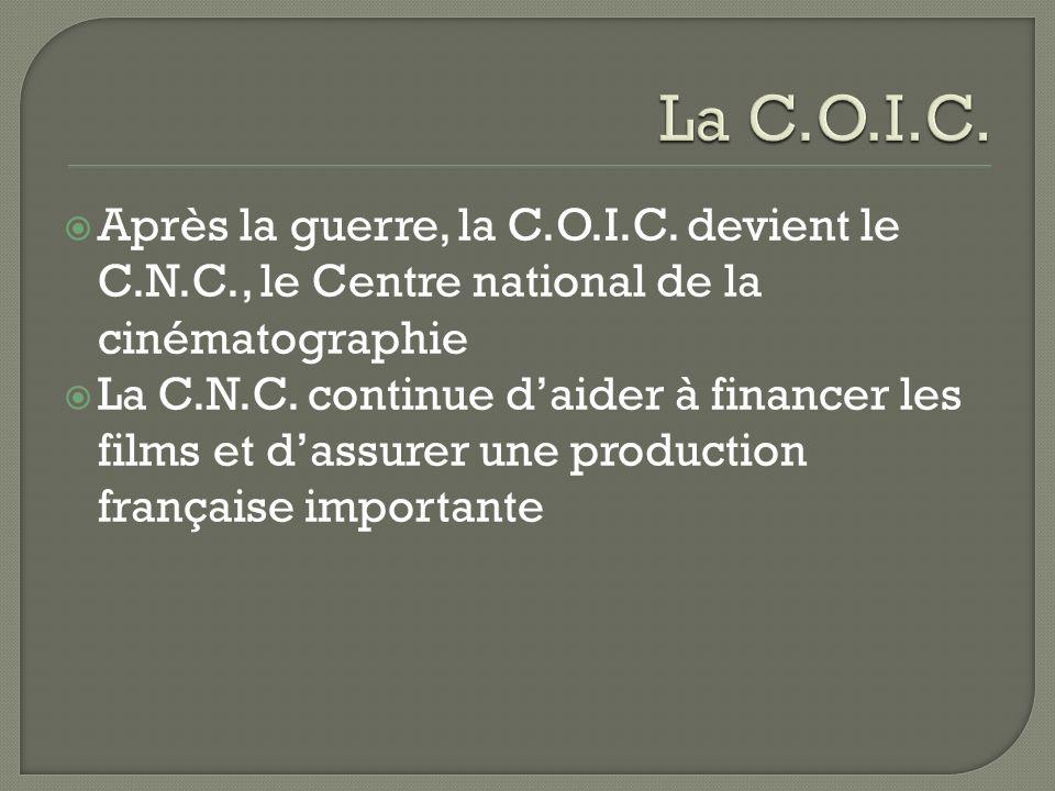 Après la guerre, la C.O.I.C. devient le C.N.C., le Centre national de la cinématographie La C.N.C. continue daider à financer les films et dassurer un