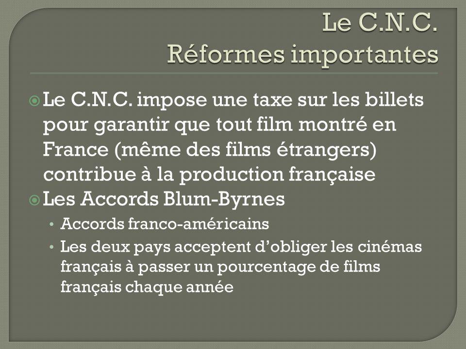 Le C.N.C. impose une taxe sur les billets pour garantir que tout film montré en France (même des films étrangers) contribue à la production française