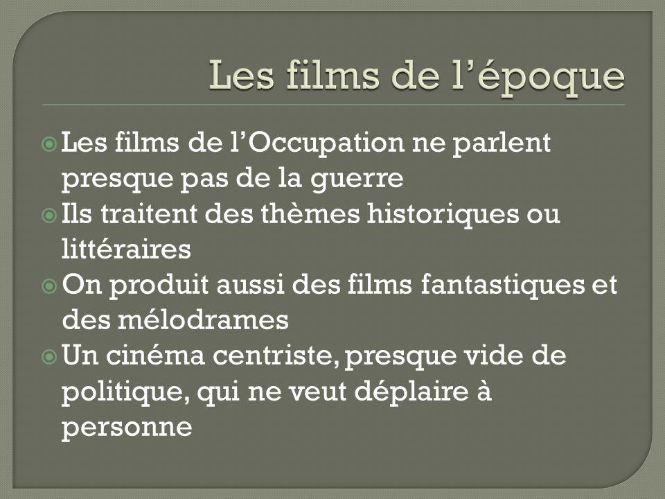Les films de lOccupation ne parlent presque pas de la guerre Ils traitent des thèmes historiques ou littéraires On produit aussi des films fantastique