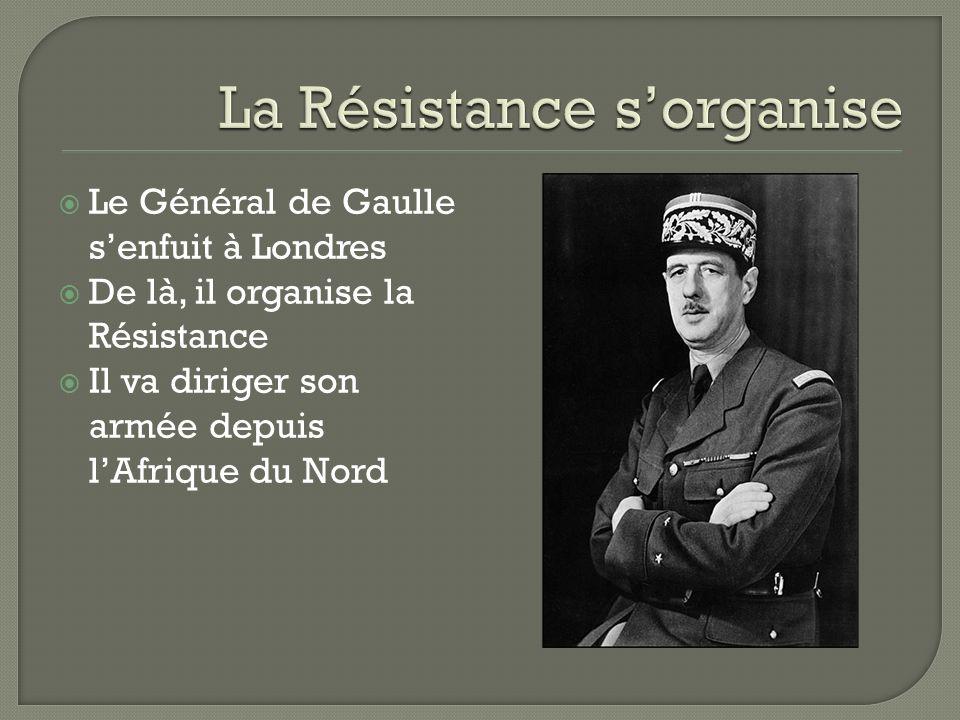 Le Général de Gaulle senfuit à Londres De là, il organise la Résistance Il va diriger son armée depuis lAfrique du Nord