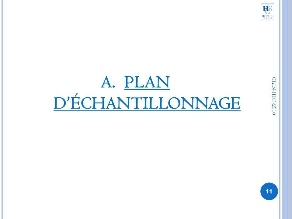 A.PLAN DÉCHANTILLONNAGE 11 CLIN-HDF-2010