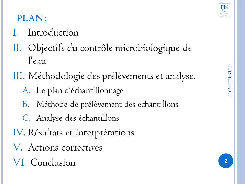 PLAN : I.Introduction II.Objectifs du contrôle microbiologique de leau III.Méthodologie des prélèvements et analyse. A.Le plan déchantillonnage B.Méth