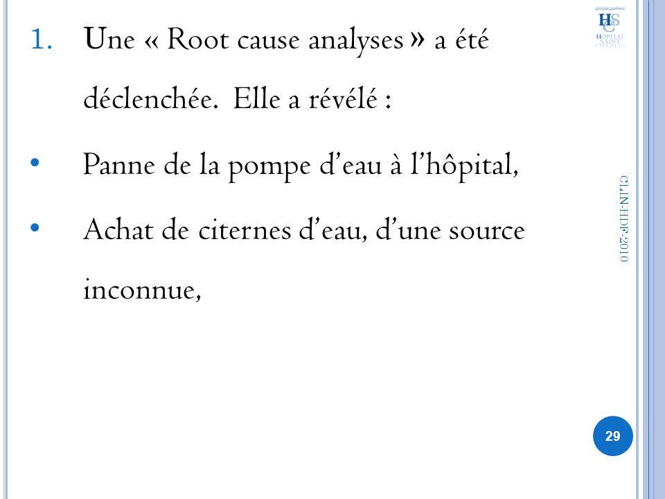 1.U ne « Root cause analyses » a été déclenchée. Elle a révélé : Panne de la pompe deau à lhôpital, Achat de citernes deau, dune source inconnue, 29 C