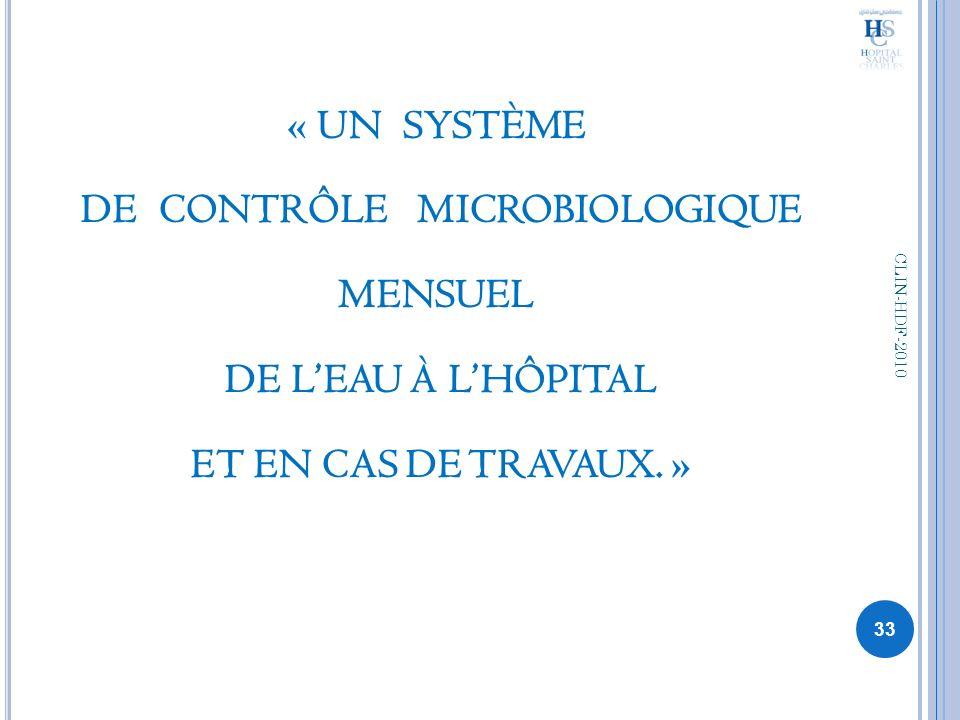 « UN SYSTÈME DE CONTRÔLE MICROBIOLOGIQUE MENSUEL DE LEAU À LHÔPITAL ET EN CAS DE TRAVAUX. » 33 CLIN-HDF-2010