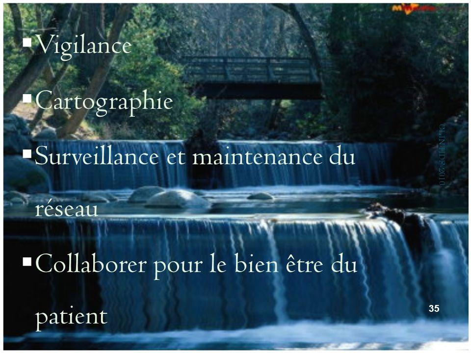 Vigilance Cartographie Surveillance et maintenance du réseau Collaborer pour le bien être du patient 35 CLIN-HDF-2010