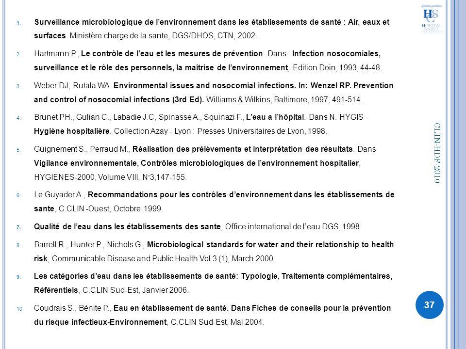 1. Surveillance microbiologique de lenvironnement dans les établissements de santé : Air, eaux et surfaces. Ministère charge de la sante, DGS/DHOS, CT
