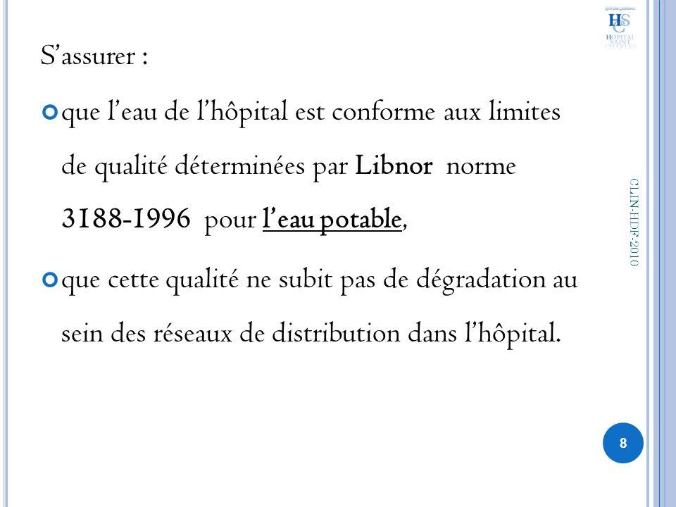 Sassurer : que leau de lhôpital est conforme aux limites de qualité déterminées par Libnor norme 3188-1996 pour leau potable, que cette qualité ne sub