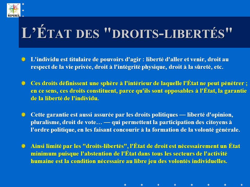 LÉ TAT DES DROITS - LIBERTÉS L individu est titulaire de pouvoirs d agir : liberté d aller et venir, droit au respect de la vie privée, droit à l intégrité physique, droit à la sûreté, etc.