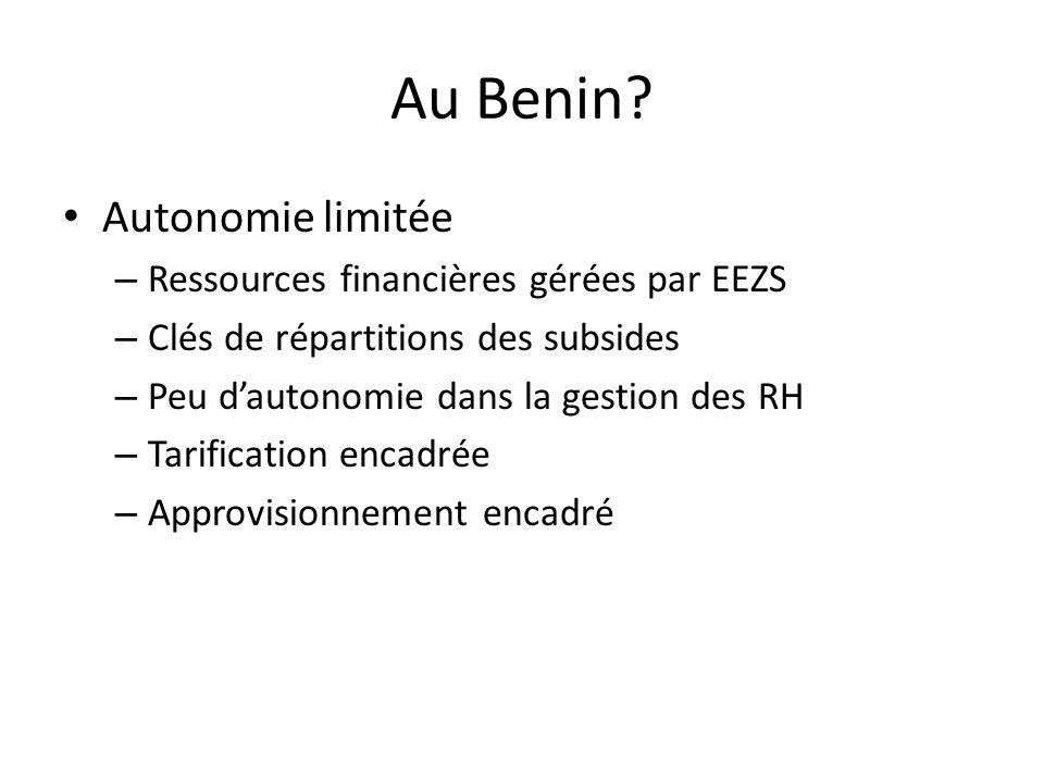 Au Benin? Autonomie limitée – Ressources financières gérées par EEZS – Clés de répartitions des subsides – Peu dautonomie dans la gestion des RH – Tar
