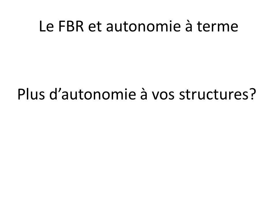 Le FBR et autonomie à terme Plus dautonomie à vos structures?