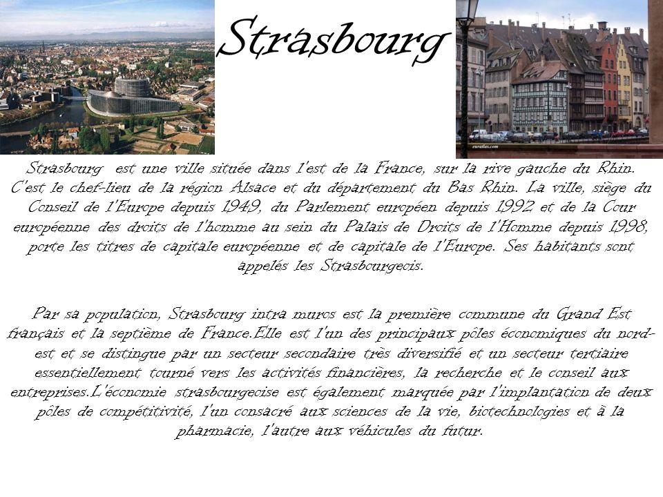 Strasbourg Strasbourg est une ville située dans l'est de la France, sur la rive gauche du Rhin. C'est le chef-lieu de la région Alsace et du départeme