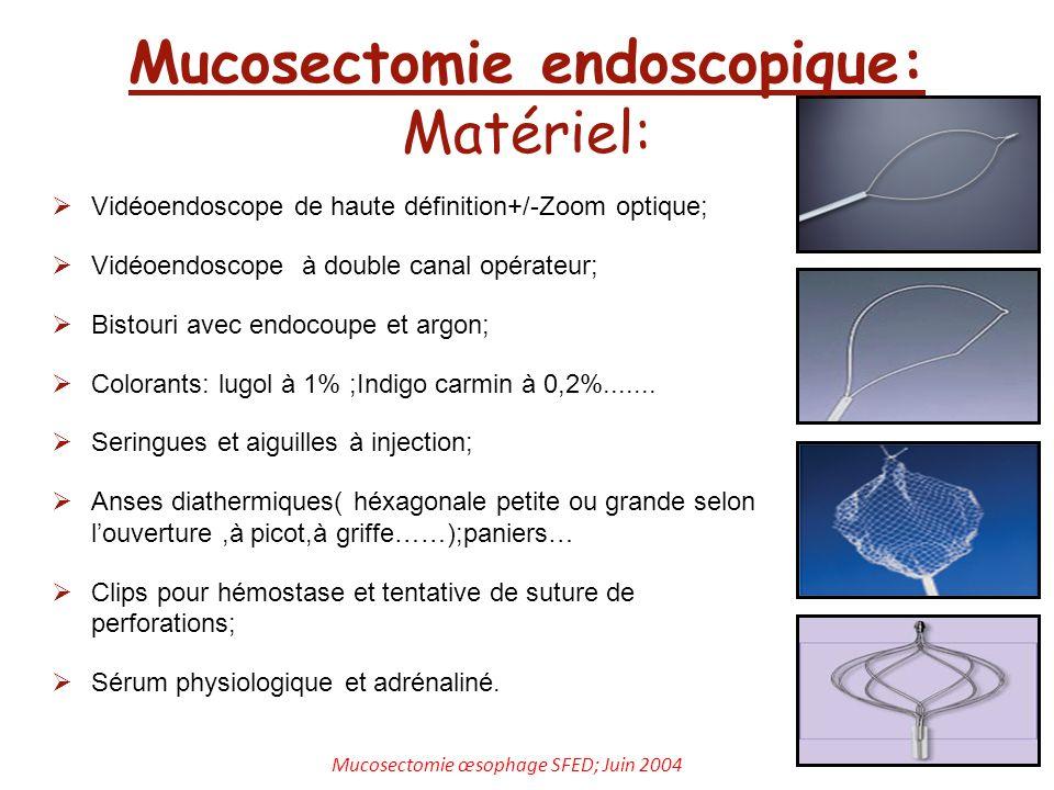 Mucosectomie endoscopique: Matériel: Vidéoendoscope de haute définition+/-Zoom optique; Vidéoendoscope à double canal opérateur; Bistouri avec endocou
