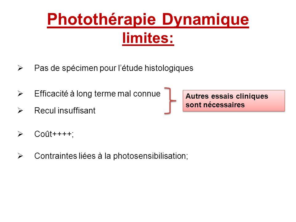 Photothérapie Dynamique limites: Pas de spécimen pour létude histologiques Efficacité à long terme mal connue Recul insuffisant Coût++++; Contraintes