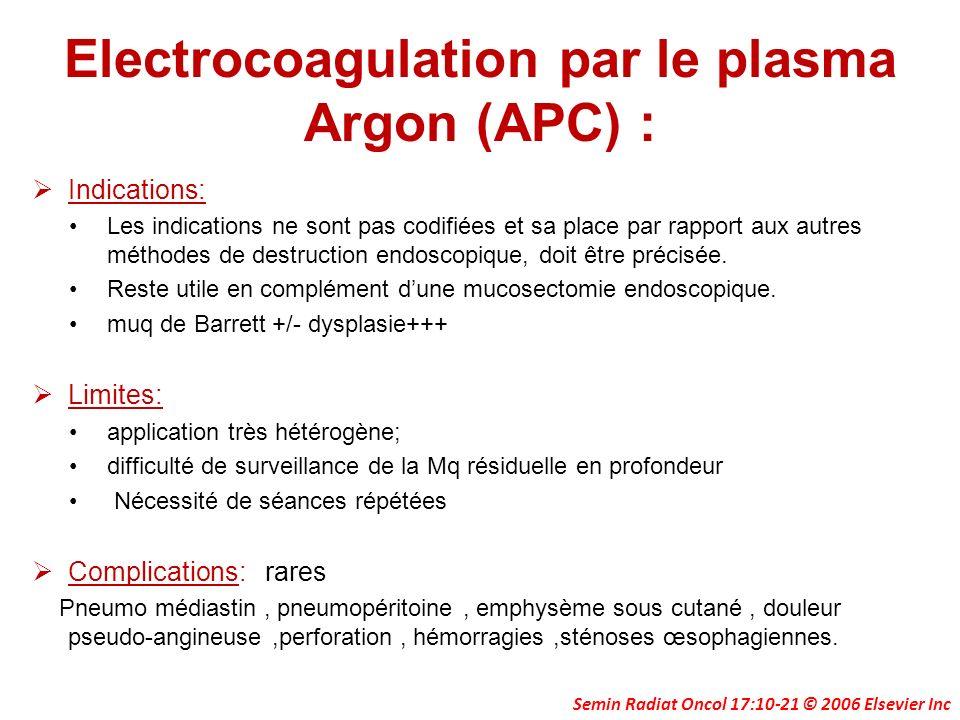 Electrocoagulation par le plasma Argon (APC) : Indications: Les indications ne sont pas codifiées et sa place par rapport aux autres méthodes de destr
