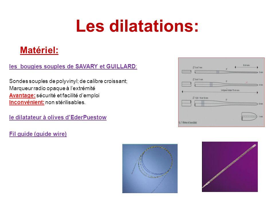 Les dilatations: les bougies souples de SAVARY et GUILLARD: Sondes souples de polyvinyl; de calibre croissant; Marqueur radio opaque à lextrémité Avan