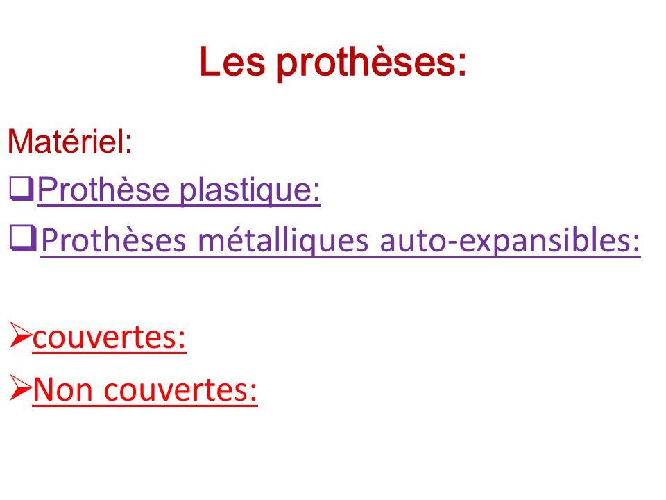 Les prothèses: Matériel: Prothèse plastique: Prothèses métalliques auto-expansibles: couvertes: Non couvertes: