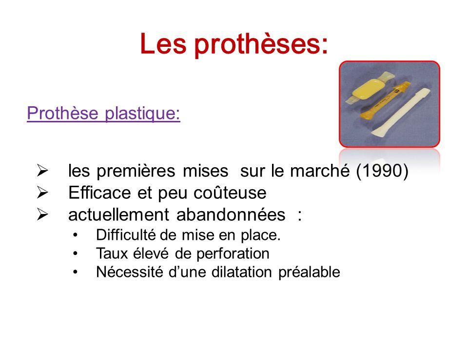 Les prothèses: Prothèse plastique: les premières mises sur le marché (1990) Efficace et peu coûteuse actuellement abandonnées : Difficulté de mise en