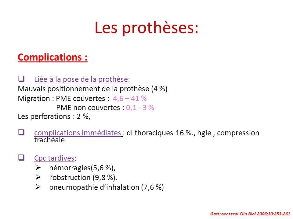Les prothèses: Complications : Liée à la pose de la prothèse: Mauvais positionnement de la prothèse (4 %) Migration : PME couvertes : 4,6 – 41 % PME n