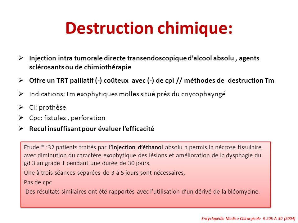 Destruction chimique: Injection intra tumorale directe transendoscopique dalcool absolu, agents sclérosants ou de chimiothérapie Offre un TRT palliati