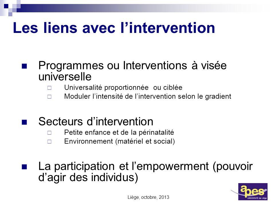 Les liens avec lintervention Programmes ou Interventions à visée universelle Universalité proportionnée ou ciblée Moduler lintensité de lintervention