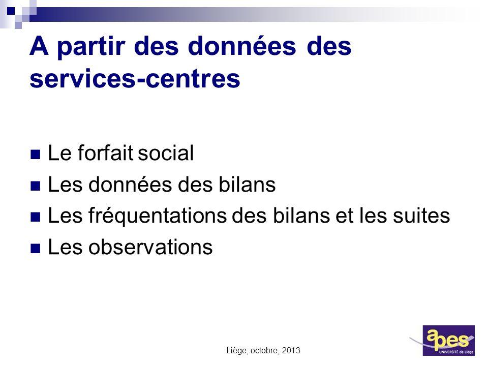 A partir des données des services-centres Le forfait social Les données des bilans Les fréquentations des bilans et les suites Les observations Liège,